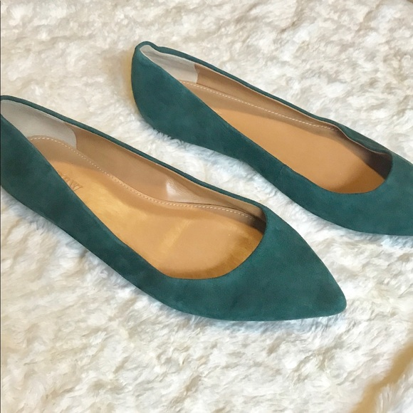 a64c83c54c3 J. Crew Shoes - J Crew Green Suede Amelia Pointed Toe Flats Size 8